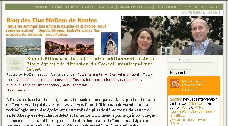 Lire la suite de Les élus MoDem de Nantes obtiennent la diffusion du conseil municipal sur internet